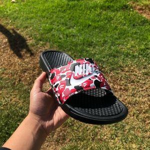 Red Bape Camo Custom Nike Slides